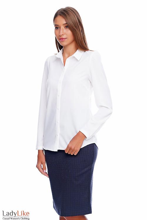 Блузка-рубашка белая Деловая женская одежда фото