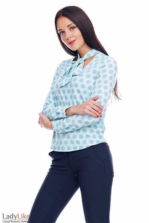 Блузка на завязочках мятного цвета Деловая женская одежда фото