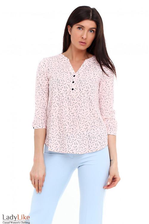 Блузка розовая в синий листик. Деловая женская одежда фото