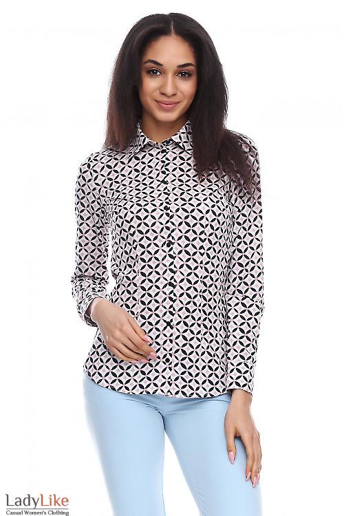 Блузка в розовую геометрию Деловая женская одежда фото