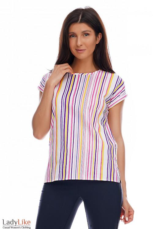 Блузка в сиреневую полоску. Деловая женская одежда фото