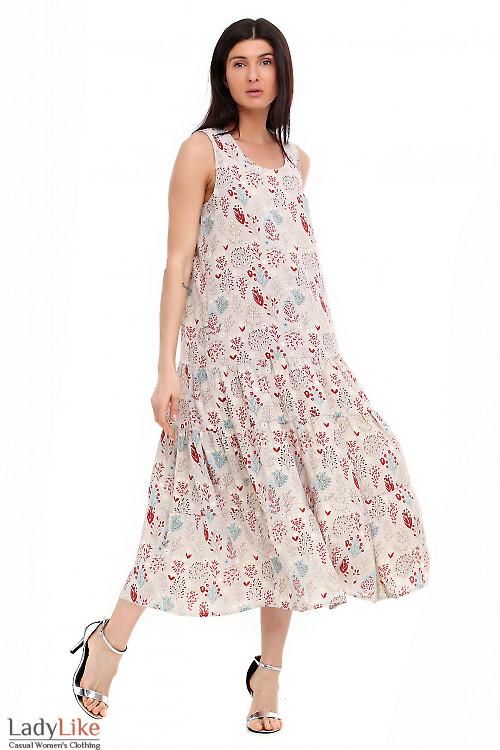 Летний серый сарафан в цветы. Деловая женская одежда фото