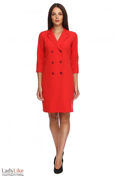 Платье-жакет красного цвета. Деловая женская одежда фото