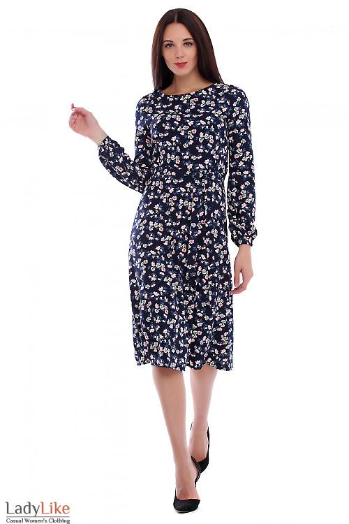 Платье из синего крепа в цветы. Деловая женская одежда фото