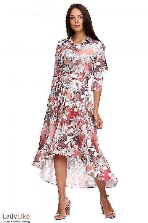 Платье коралловое с пышной неровной юбкой. Деловая женская одежда фото