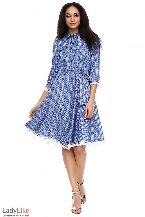 Платье под джинс с кружевом Деловая женская одежда фото