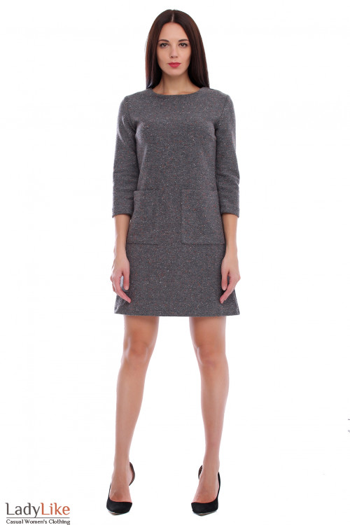 Платье серое тёплое в разноцветные точки. Деловая женская одежда фото