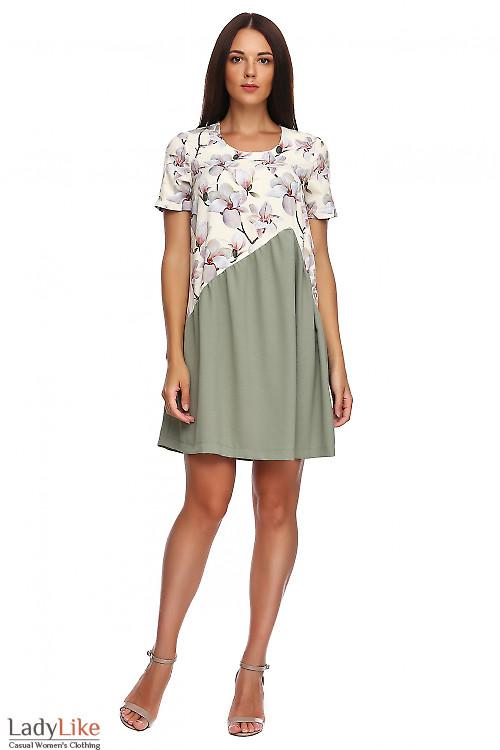 Платье серое в лилии. Деловая женская одежда фото