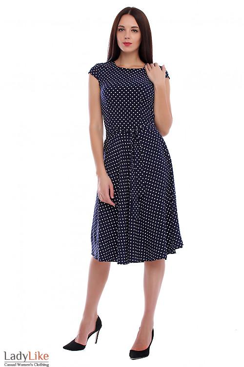 Платье синее в мелкий белый горох. Деловая женская одежда фото