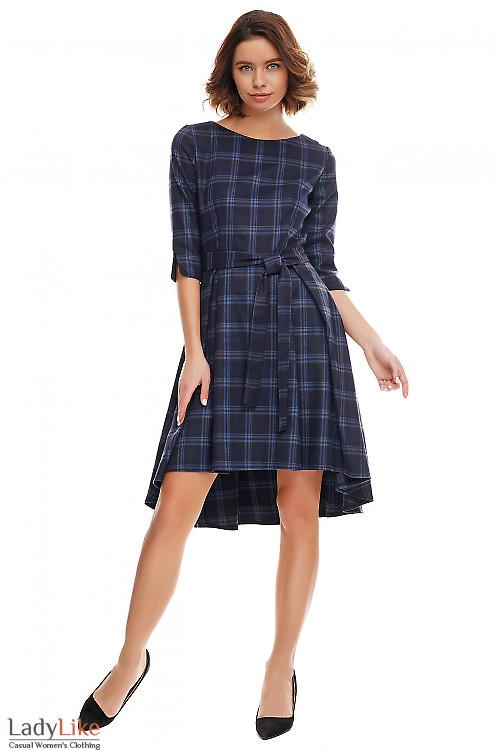 Платье тёплое пышное в синюю клетку Деловая женская одежда фото