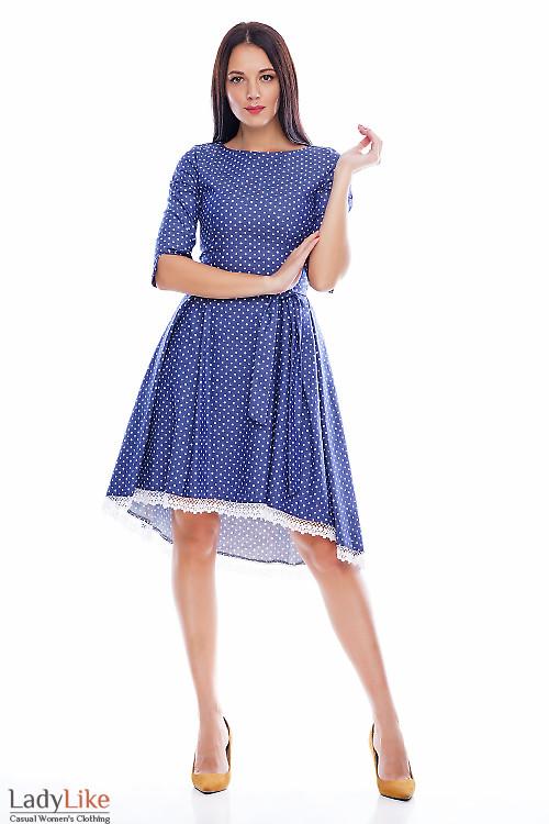 Платье в горох под джинс с кружевом Деловая женская одежда фото