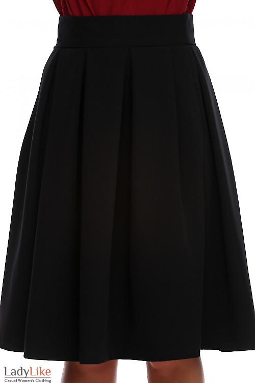 Юбка чёрная в складку с высокой талией.  Деловая женская одежда