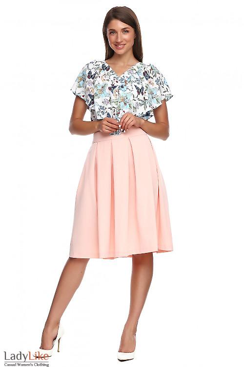 Юбка персиковая в складку с карманами. Деловая женская одежда
