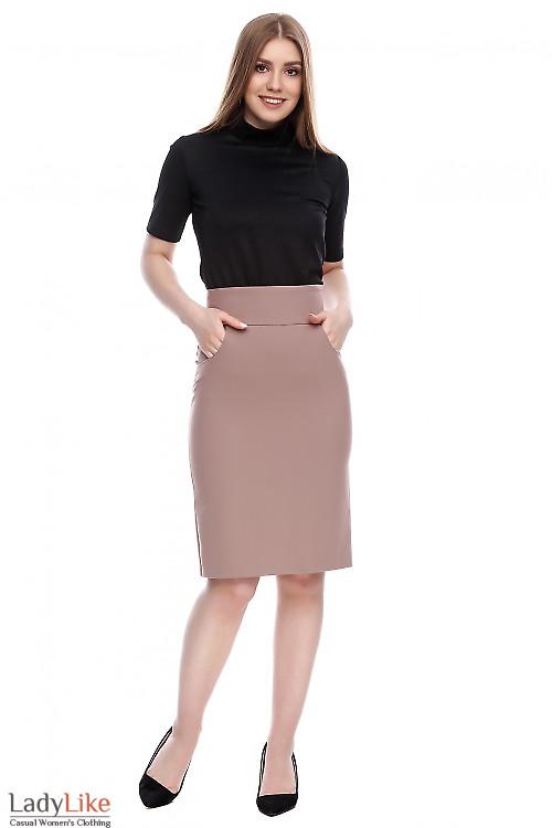 Юбка с высокой талией темно-бежевая Деловая женская одежда фото