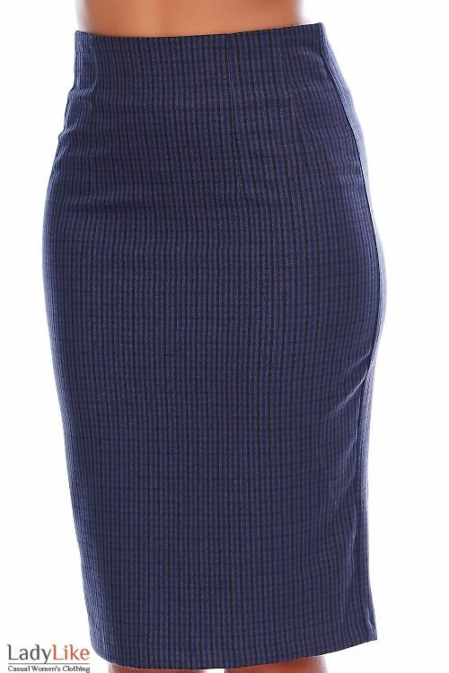 Юбка теплая в синюю клеточку Деловая женская одежда фото