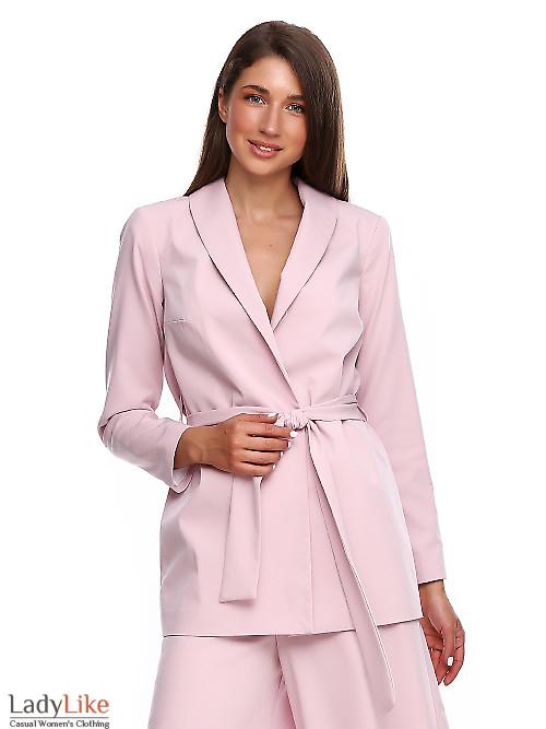 Жакет просторный розовый на запах. Деловая женская одежда фото