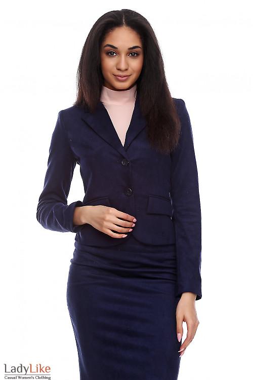 Жакет синий под замш Деловая женская одежда фото