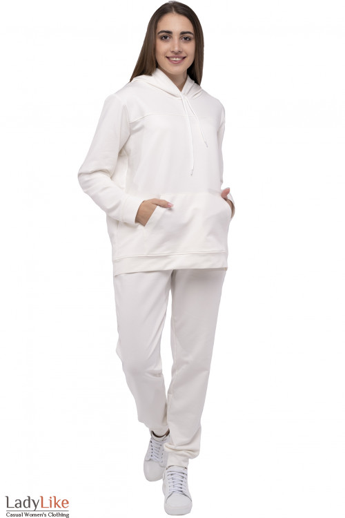 Белый спортивный костюм с худи. Деловая женская одежда