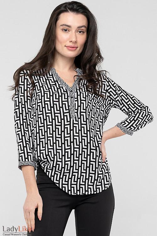 Блуза чорно-біла з бавовни. Діловий жіночий одяг
