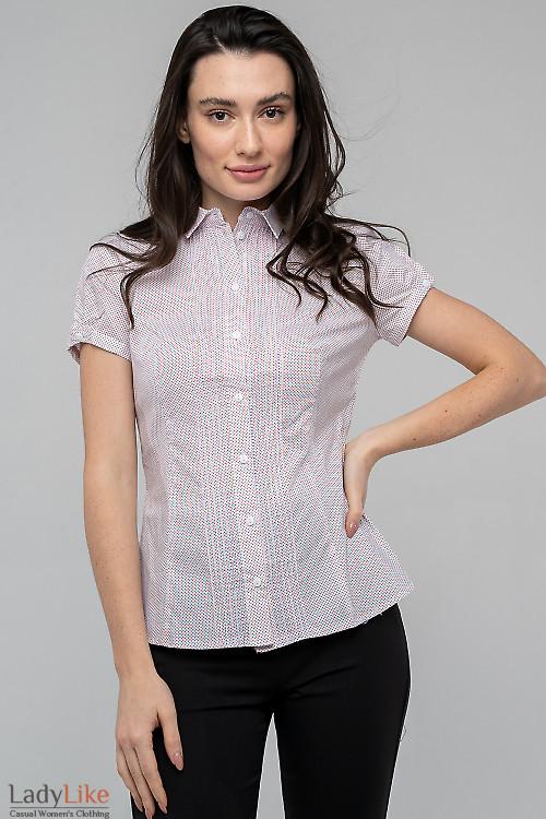Блузка с защипами в ромбик мелкий. Деловая одежда
