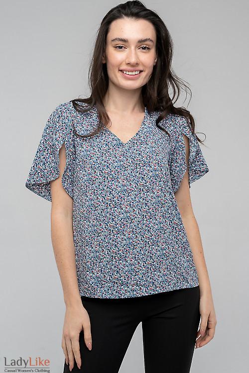 Блузка в цветочек с запахом сзади. Деловая женская одежда