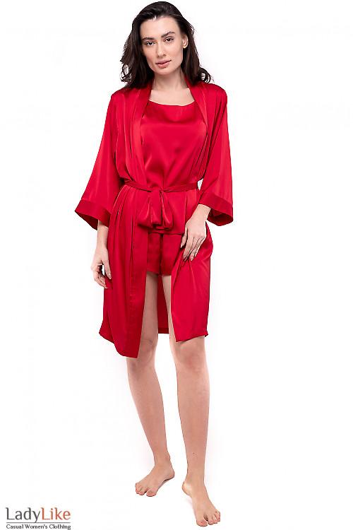 Халат женский шелковый красный. Женская одежда