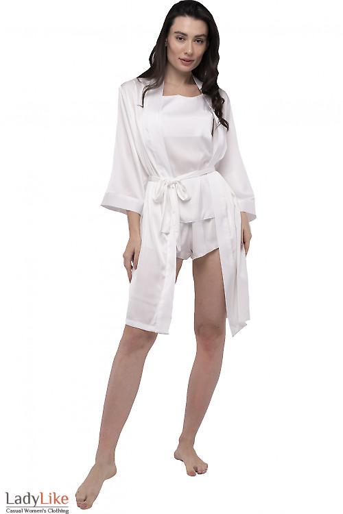 Халат женский шелковый молочный. Деловая одежда