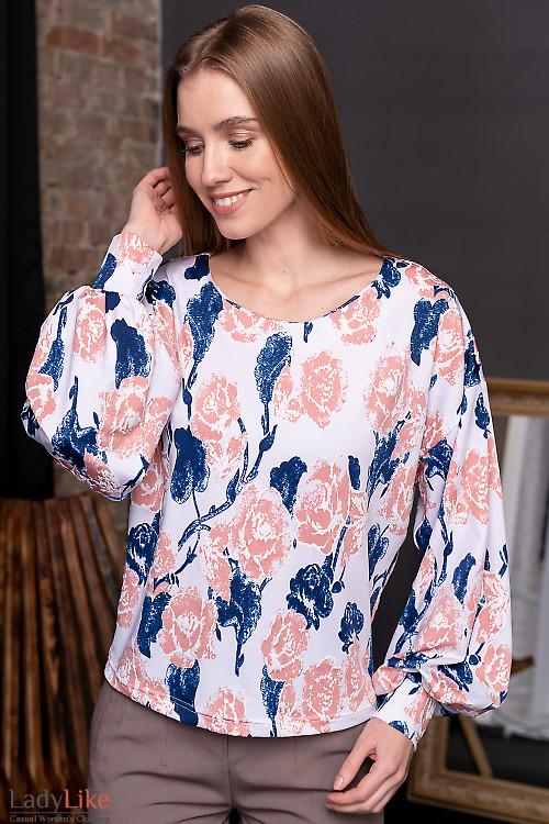 Кофта розовая в цветы. Деловая женская одежда фото