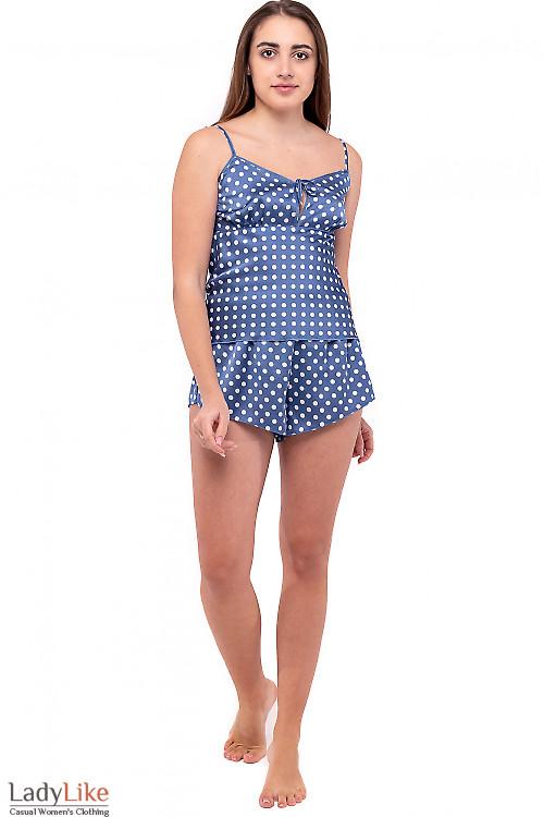 Пижама женская голубая в горох. Деловая женская одежда