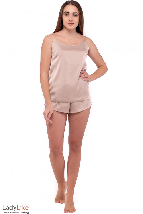 Пижама женская шелковая бежевая. Деловая  одежда