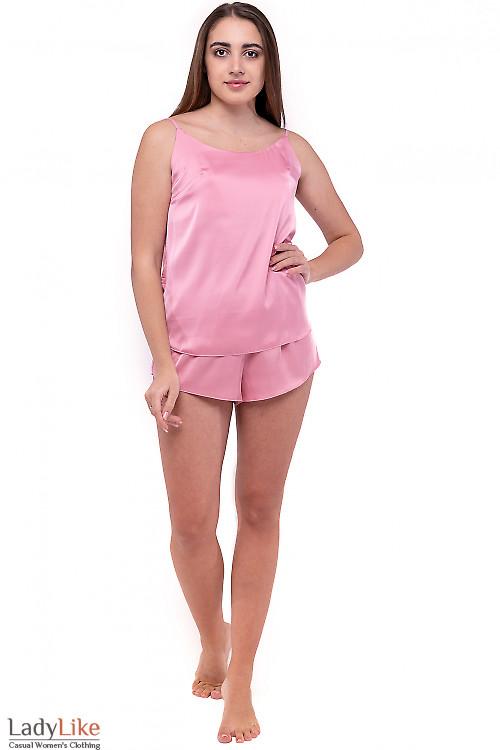 Пижама женская шелковая розовая. Деловая одежда
