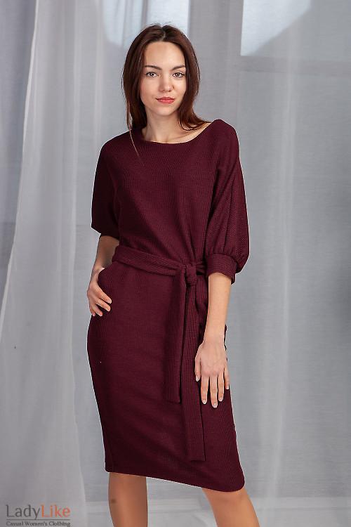 Платье бордовое с юбкой карандаш. Деловая одежда