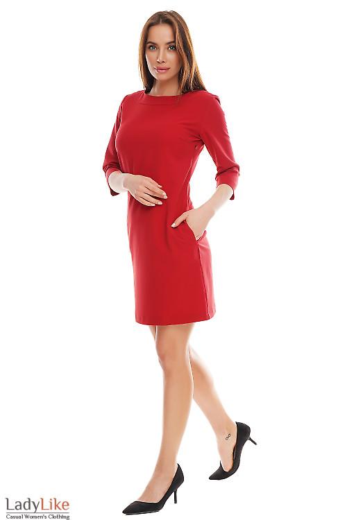 Платье красное короткое с карманами. Деловая женская одежда