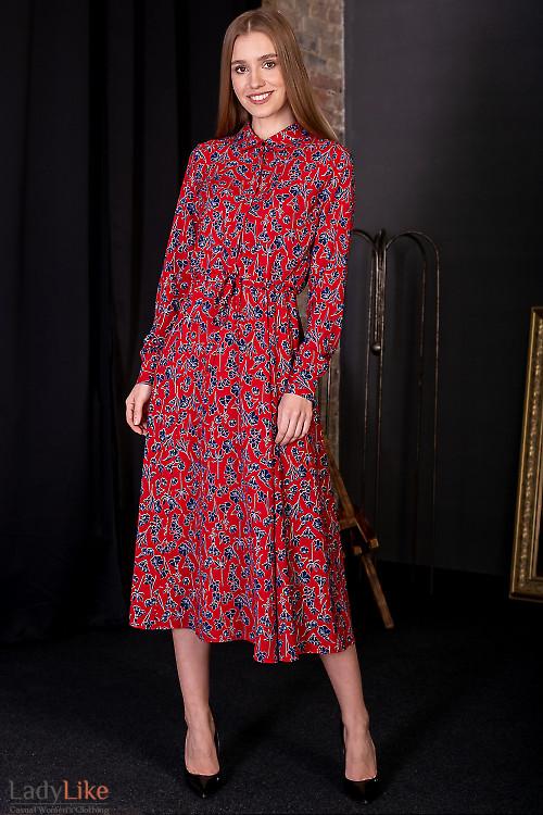 Платье красное в синий цветок. Деловая женская одежда