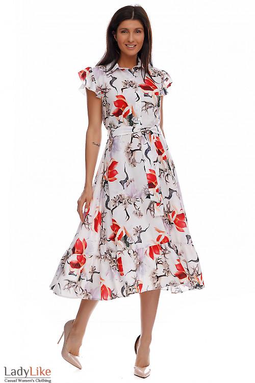 Платье в красно-серый цветок с воланом. Деловая одежда