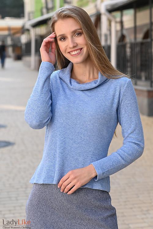 Туника тёплая нежно-голубая. Деловая женская одежда