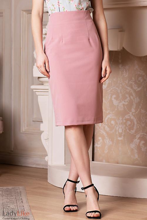 Юбка карандаш розового цвета. Деловая женская одежда фото
