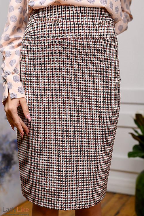 Юбка в бордово-белую лапку. Деловая женская одежда фото