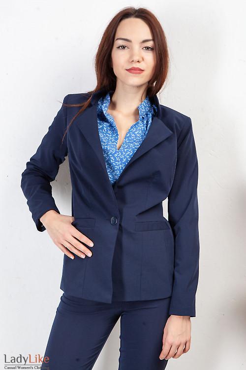 Жакет синий удлиненный со стойкой. Деловая женская одежда фото