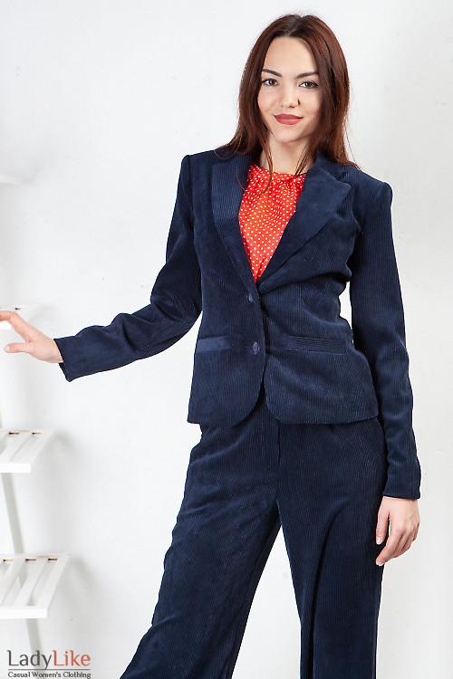 Жакет синий вельветовый. Деловая женская одежда фото