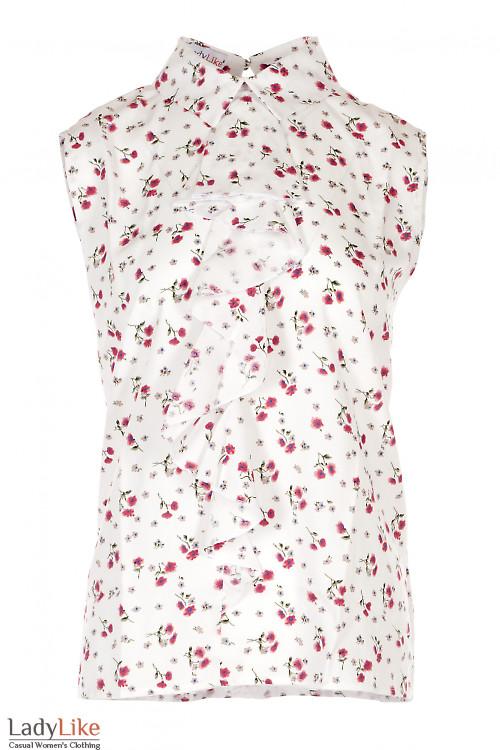 Блузка белая штапельная в маки. Женская Одежда фото
