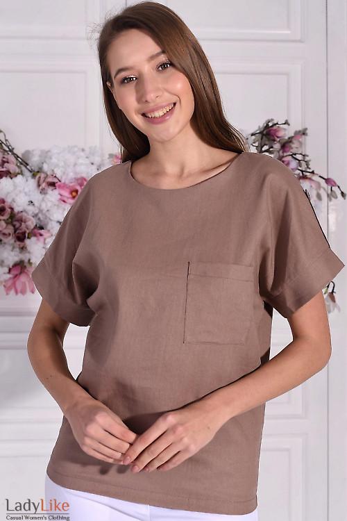 Блузка из кофейного льна. Деловая женская одежда