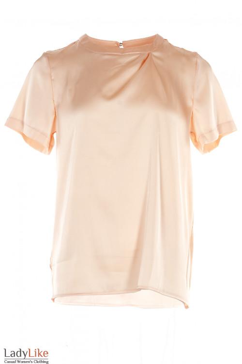 Блузка персиковая шелковая. Деловая женская одежда фото