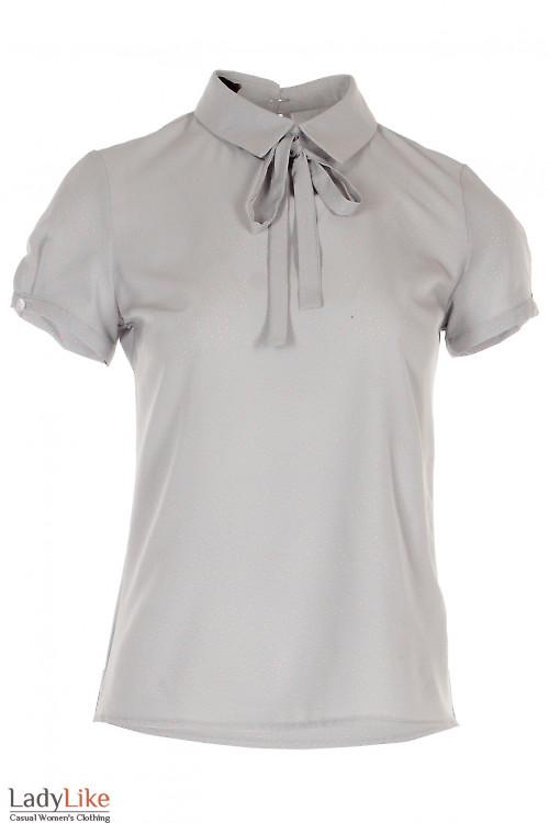 Блузка с завязками серая в горошек Деловая женская одежда фото