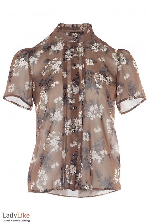 Блузка шифоновая коричневая в цветы. Деловая женская одежда
