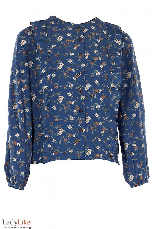 Блузка синяя с рюшами впереди. Деловая женская одежда
