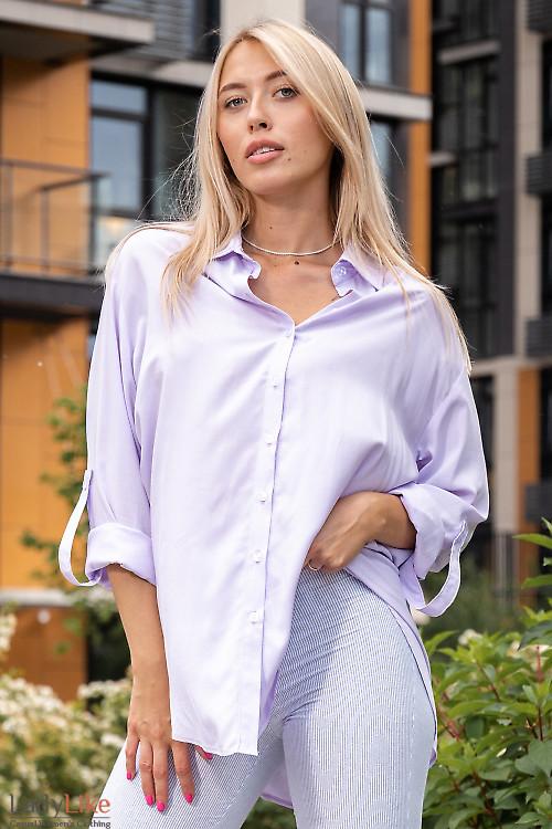 Стильная блузка лилового цвета. Деловая женская одежда фото