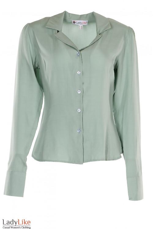 Блузка зеленая с английским воротником. Деловая женская одежда