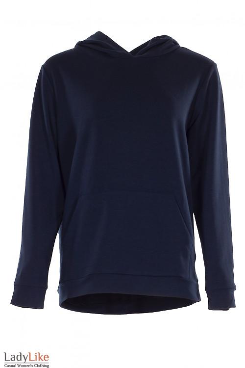 Худи темно-синее с карманом и капюшоном. Женская одежда фото