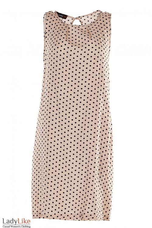 Платье бежевое в черный горошек Деловая Женская Одежда фото